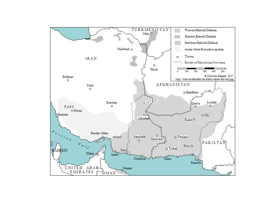 Approximate Location of Balochi Dialects