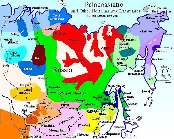 North Asia Map TITUS Didactica: Languages of North Asia: Map frame North Asia Map