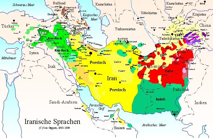 TITUS Didactica Iranian languages map