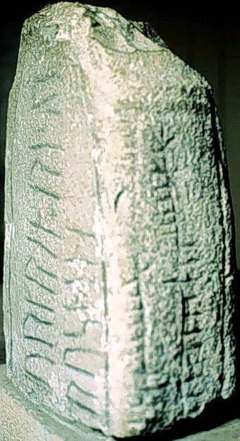 A stone marked with Ogam script